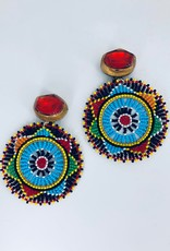 Rainbow Cirlcle with Orange Stud Earrings