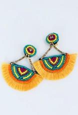 Yellow Fringe and Beaded Earrings
