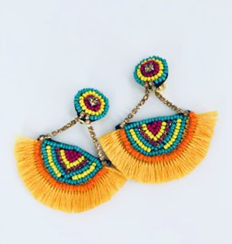 Lucy Jane Yellow Fringe and Beaded Earrings