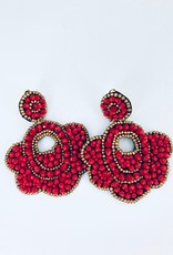 Red and Gold Flower Beaded Earrings