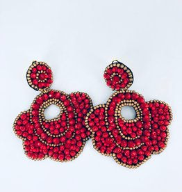Lucy Jane Red and Gold Flower Beaded Earrings