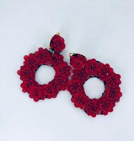 Lucy Jane Red Cirlce Flower Earrings
