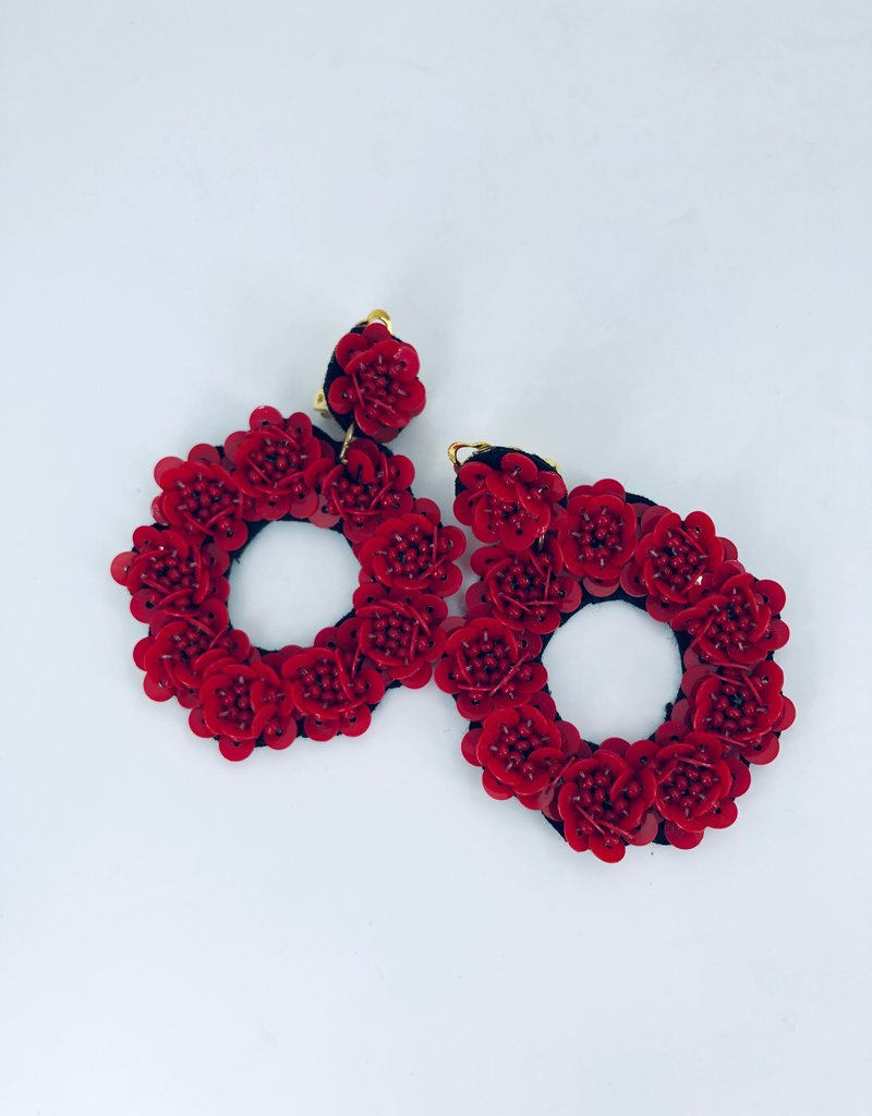 Red Cirlce Flower Earrings