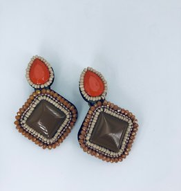 Brown and Orange Statement Earrings