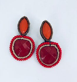Lucy Jane Red and Orange Statement Earrings