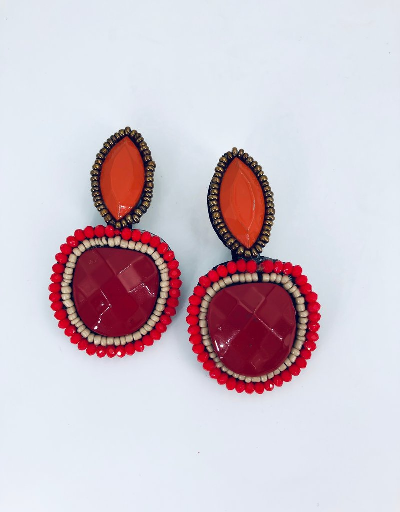 Red and Orange Statement Earrings