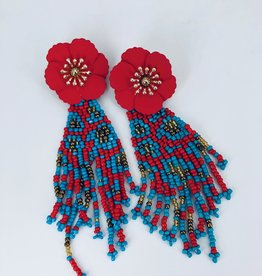Red Flower Stud and Blue and Red Beaded Fringe Earrings