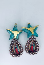 Virgin Mary and Turquoise Longhorn Earrings