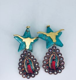 Lucy Jane Virgin Mary and Turquoise Longhorn Earrings