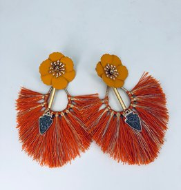 Orange Fringe and Dagger Earrings