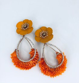 Orange and Diamond Earrings with Flower Stud