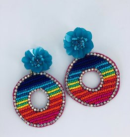 Rainbow Circle with Flower Stud