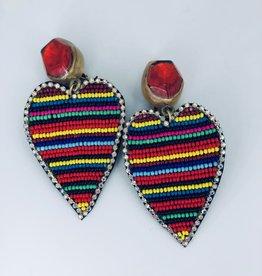 Lucy Jane Rainbow Beaded Heart Earrings