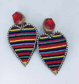 Rainbow Beaded Heart Earrings