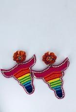 Beaded Longhorn and Orange Flower Earrings