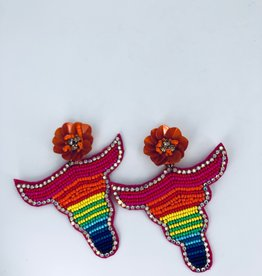 Lucy Jane Beaded Longhorn and Orange Flower Earrings
