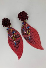 Red Snakeskin Feather Earrings with Rainbow Lightning Charm