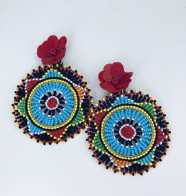 Lucy Jane Circle Rainbow Earrings with Red Flower Stud