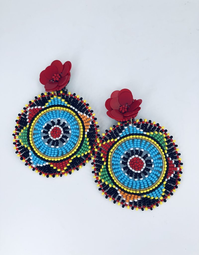 Circle Rainbow Earrings with Red Flower Stud