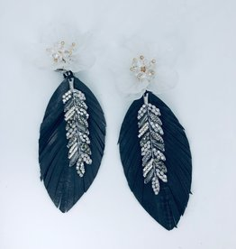 Grey Feather with Leaf Charm and Big Flower Stud