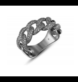 Large Pave Curb Ring in White Gold