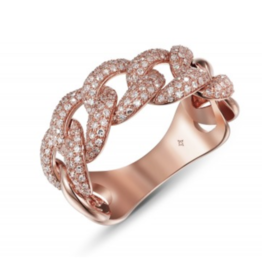 Large Pave Curb Ring in Rose Gold