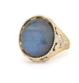 Jude Frances Provence Large Oval Stone Beaded Bezel Ring