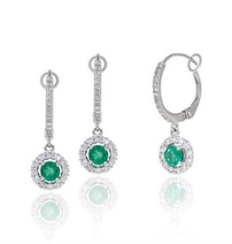 Luvente 14K White Gold Pave Diamond and Emerald Center Earrings