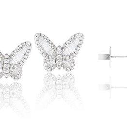 Luvente 14K White Diamond Butterfly Studs