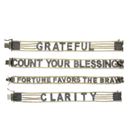 "Eden Presley Small Font ""Count Your Blessings"" Mantra Bracelet"