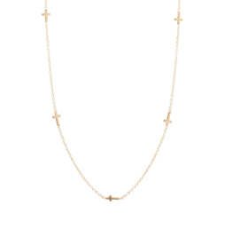 Zoe Chicco 14K Itty Bitty 5 Cross Necklace