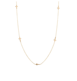 Zoe Chicco 14K Itty Bitty 5 Cross Necklace