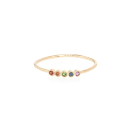 Zoe Chicco 14K 5 Tiny Rainbow Sapphires Ring