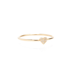 Zoe Chicco 14K Itty Bitty Heart Ring Covered in White Pave Diamonds