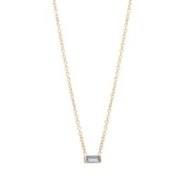 Zoe Chicco 14K Gold Aquamarine Horizontal Baguette Necklace