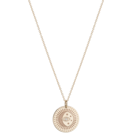 Zoe Chicco 14K Small Celestial Protection Medallion Necklace with a Diamond Eye