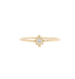 Zoe Chicco 14K Tiny Bead Starburst and Diamond Ring