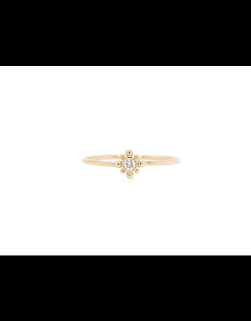 14K Tiny Bead Starburst and Diamond Ring