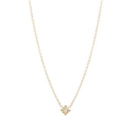 Zoe Chicco 14K Tiny Bead Starburst Necklace with Diamond Center