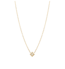 Zoe Chicco 14K Tiny Bead Starburst Necklace with Diamond Center
