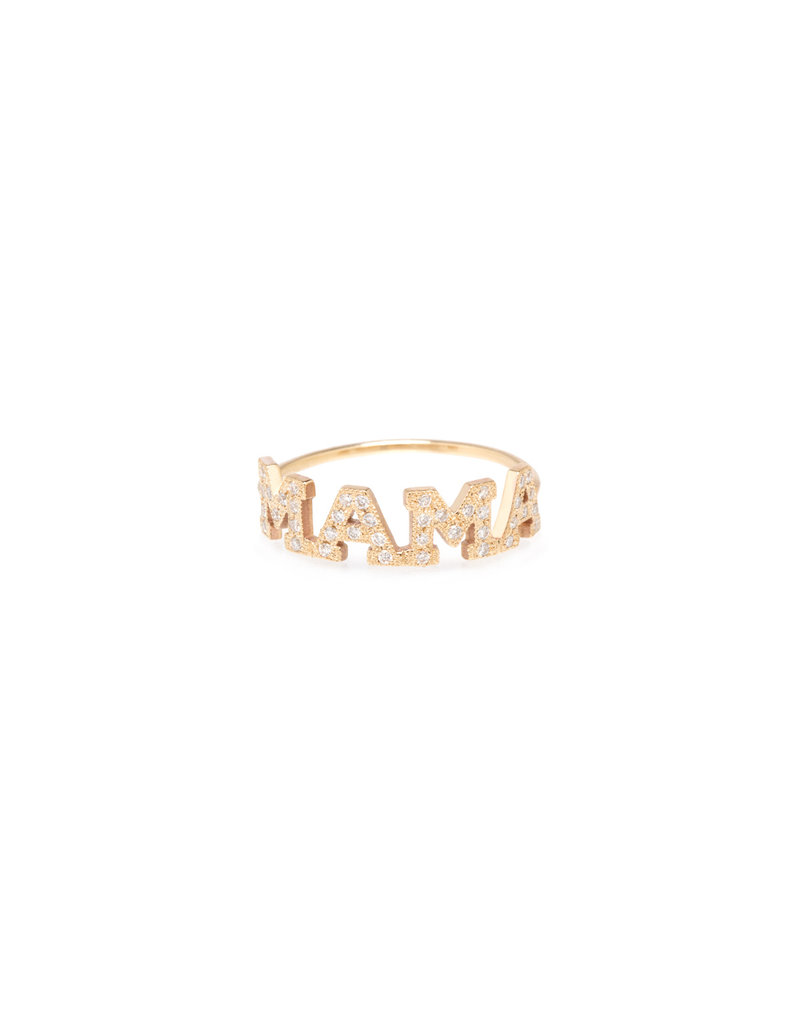 14K Gold MAMA Ring with White Pave Diamonds- Size 6.5