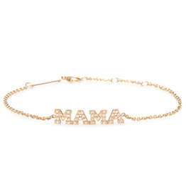 Zoe Chicco 14K Gold MAMA Bracelet with White Pave Diamonds