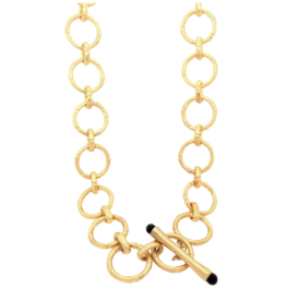 Bamboo Link Necklace Gold With Black Onyx Detail