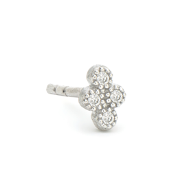 Jude Frances Petite White Gold Diamond Quad Stud Single