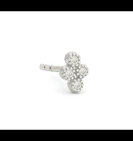 Petite White Gold Diamond Quad Stud Single