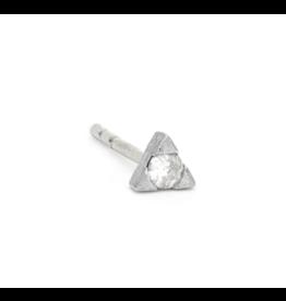 White Gold Petite Diamond Trillion Stud