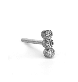 Jude Frances White Gold Petite Tiny 3 Diamond Stud