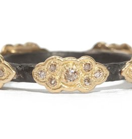 Armenta Old World Sculped Stack Band With YG Champagne Diamond Scrolls