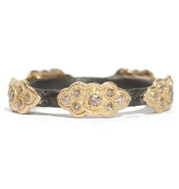 Old World Sculped Stack Band With YG Champagne Diamond Scrolls