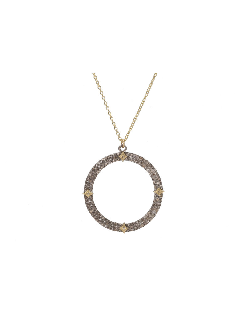 Old World Pave Open Circle Necklace